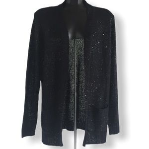 Jessica Black Sequinned Cable Knit Cardigan Large